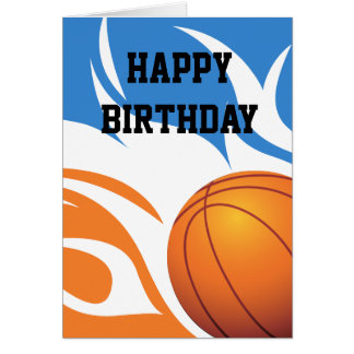 Flaming Basketball Blue and Orange Card