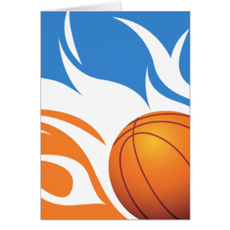 Flaming Basketball Blue and Orange Cards