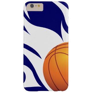 Flaming Basketball Blue and White Barely There iPhone 6 Plus Case