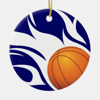 Flaming Basketball Blue and White Christmas Ornament