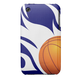 Flaming Basketball Blue and White iPhone 3 Case-Mate Case
