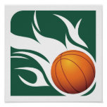 Flaming Basketball Green and White