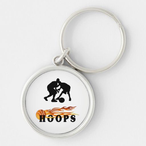 Flaming Basketball Hoops Silver-Colored Round Key Ring