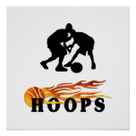 Flaming Basketball Hoops Posters