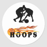 Flaming Basketball Hoops Round Stickers