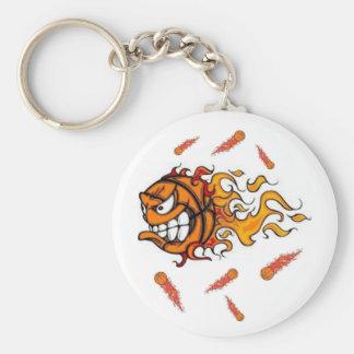 flaming basketball keychain