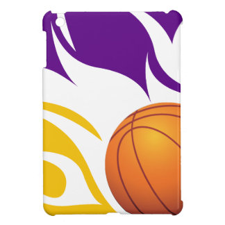 Flaming Basketball Purple and Gold iPad Mini Cover