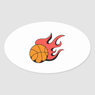 FLAMING BASKETBALL OVAL STICKER
