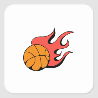 FLAMING BASKETBALL SQUARE STICKER