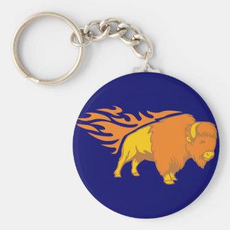Flaming Bison #2 Basic Round Button Key Ring