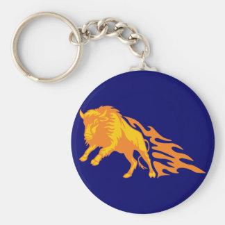 Flaming Bison #3 Basic Round Button Key Ring