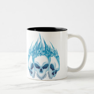 Flaming Blue Skulls Two-Tone Mug