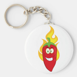 Flaming Chili Pepper Keychain Basic Round Button Keychain