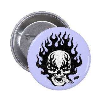 Flaming Cigar Skull -bw 6 Cm Round Badge