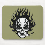Flaming Cigar Skull -bw Mouse Pad