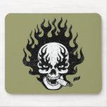 Flaming Cigar Skull -bw Mouse Pad