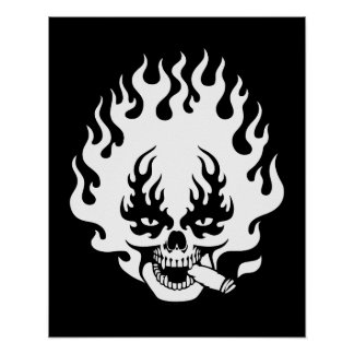 Flaming Cigar Skull -bw Poster