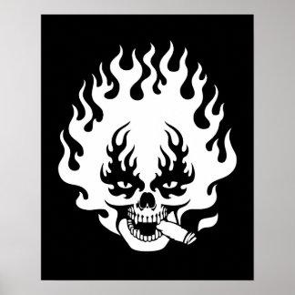 Flaming Cigar Skull -bw Print