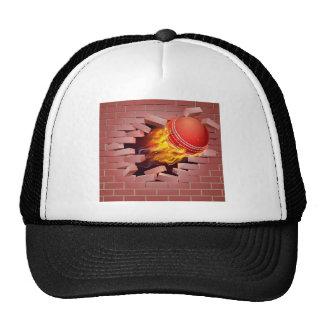 Flaming Cricket Ball Breaking Through Brick Wall Cap