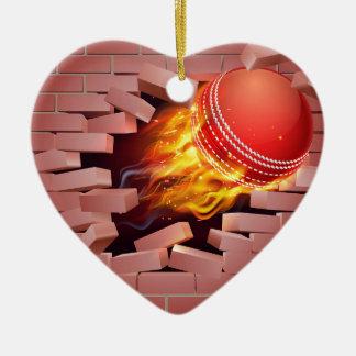 Flaming Cricket Ball Breaking Through Brick Wall Ceramic Heart Decoration