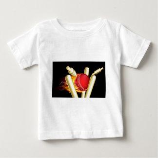 Flaming Cricket Ball Hitting Wicket Stumps Baby T-Shirt
