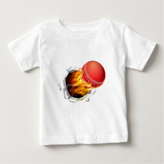 Flaming Cricket Ball Tearing a Hole in the Backgro Baby T-Shirt