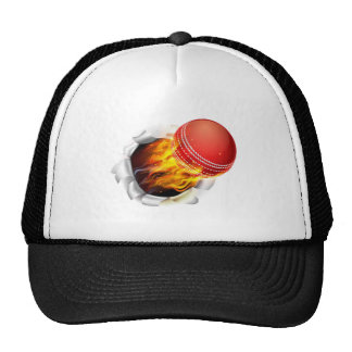 Flaming Cricket Ball Tearing a Hole in the Backgro Cap
