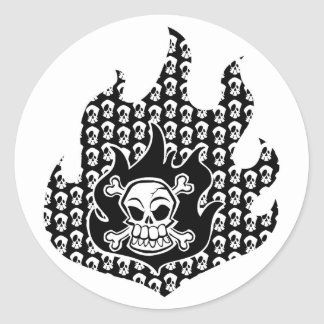 Flaming Cross Bones Round Sticker