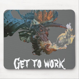 flaming dragon, Get to work Mouse Pad