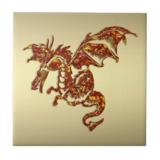 Flaming Dragon on Gold Tile