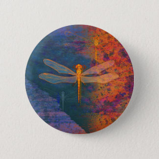 Flaming Dragonfly 6 Cm Round Badge
