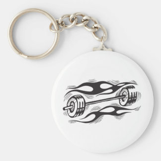 Flaming Dumbbell Basic Round Button Key Ring