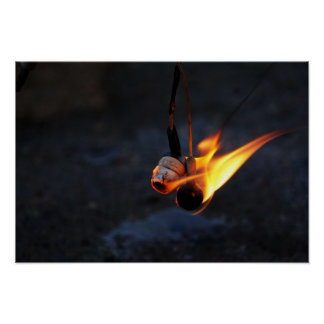 Flaming Earbuds Poster