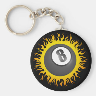Flaming Eight Ball Basic Round Button Key Ring