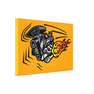 Flaming Engine Gallery Wrapped Canvas
