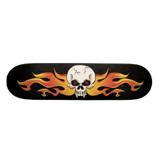 Flaming Fanged Skull Skate Deck