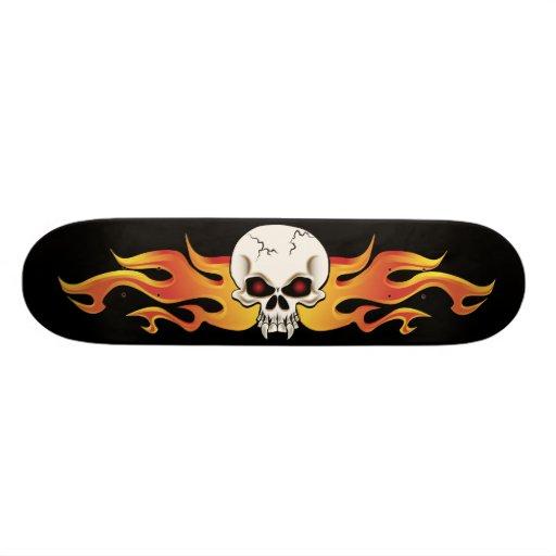 Flaming Fanged Skull Skateboard