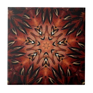 Flaming Feather Kaleidoscope Small Square Tile