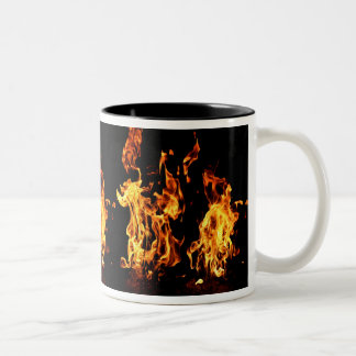 Flaming Fire Burning Design for Hot Drinks Two-Tone Mug