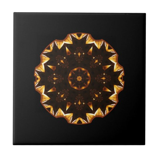 Flaming Fire Flower Geometric Kaleidoscope Small Square Tile