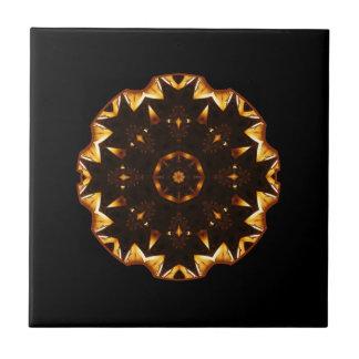 Flaming Fire Flower Geometric Kaleidoscope Tile