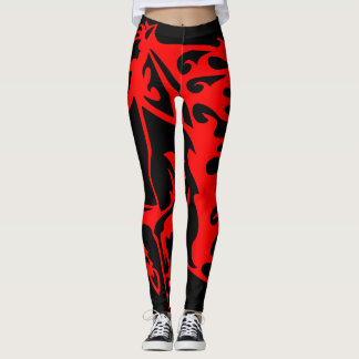 Flaming Fire Red Stallion Mustang Wild Horse Leggings