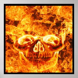 Flaming Fire Skull Poster