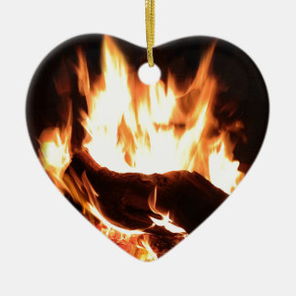 Flaming Fireplace Design Christmas Ornament