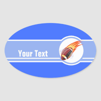 Flaming Football; Blue Oval Sticker