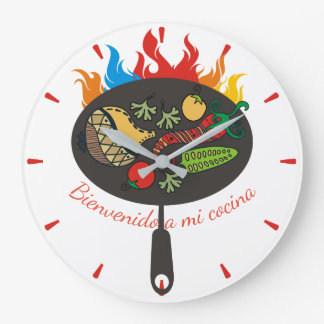 Flaming frying pan Mexican food kitchen clock