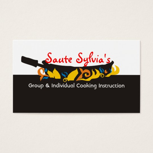 Flaming  frying pan skillet chef catering biz card