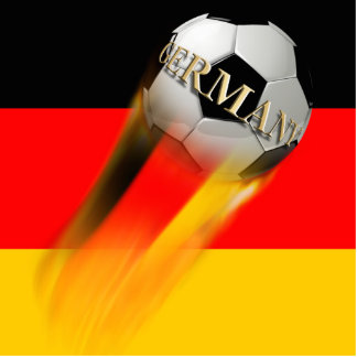 Flaming Germany Soccer Ball on Flag Photo Cut Outs