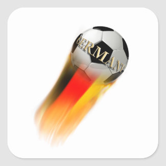 Flaming Germany Soccer Ball Square Stickers