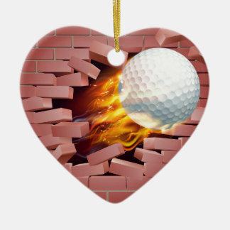 Flaming Golf Ball Breaking Through Brick Wall Ceramic Heart Decoration